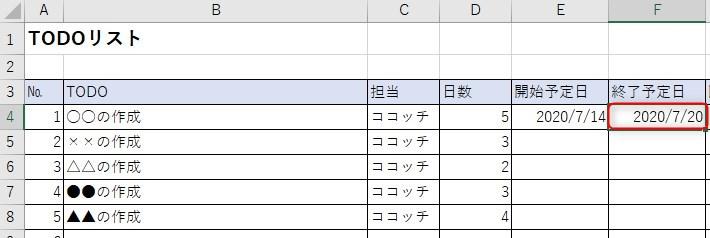 7月14日の4営業日後を算出した結果
