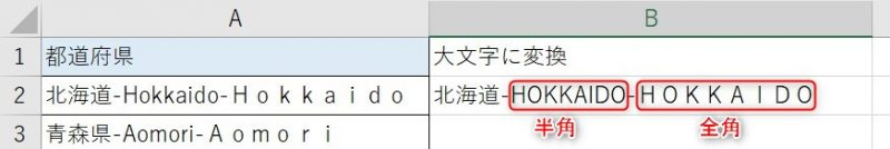 UPPER関数を使用して半角英字と全角英字が大文字に変換