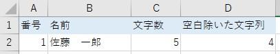 空白文字を取り除いた文字をLEN関数で囲んだ結果