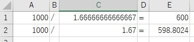 「1000」を「1.67」を割る 「1000」を「1.66666666666667」を割る